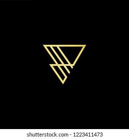 Initial letter P PP PV VP minimalist art logo, gold color on black background.
