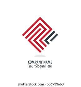 Initial Letter P R Maze Concept Design Logo