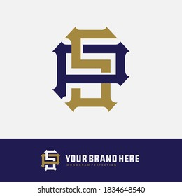 Initial letter P, S, PS or SP overlapping, interlock, monogram logo, blue and gold color on white background