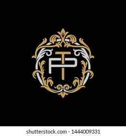 Initial letter P and T, PT, TP, decorative ornament emblem badge, overlapping monogram logo, elegant luxury silver gold color on black background