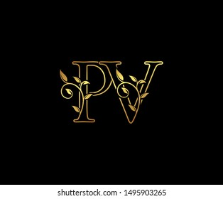 Initial letter P and V, PV, Gold Logo Icon, classy gold letter monogram logo icon suitable for boutique,restaurant, wedding service, hotel or business identity.