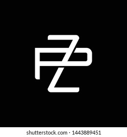 Initial letter P and Z, PZ, ZP, overlapping interlock monogram logo, white color on black background