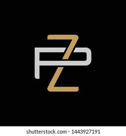 Initial letter P and Z, PZ, ZP, overlapping interlock logo, monogram line art style, silver gold on black background