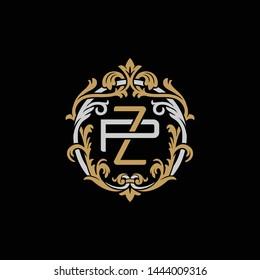 Initial letter P and Z, PZ, ZP, decorative ornament emblem badge, overlapping monogram logo, elegant luxury silver gold color on black background