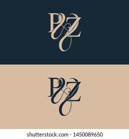 Initial letter P & Z PZ luxury art vector mark logo, gold color on black background.