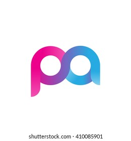 initial letter pa linked round lowercase logo pink blue purple
