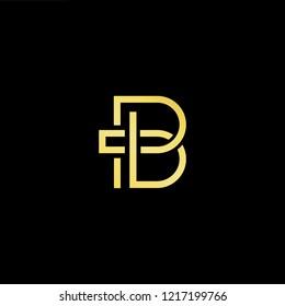 Initial letter PB BP minimalist art logo, gold color on black background.