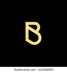 Initial letter PB BP PD DP BD DBminimalist art logo, gold color on black background.