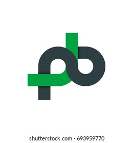 Initial Letter PB NB Linked Rounded Design Logo