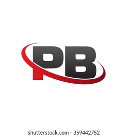 initial letter PB swoosh ring company logo red black