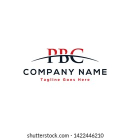 Initial letter PBC, overlapping movement swoosh horizon logo company design inspiration in red and dark blue color vector