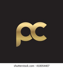 initial letter pc linked round lowercase logo gold black background