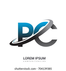 initial letter PC logotype company name colored blue and grey swoosh design. logo design for business and company identity.