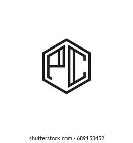 Initial letter PC, minimalist line art monogram hexagon logo, black color
