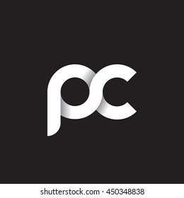 initial letter pc modern linked circle round lowercase logo white black