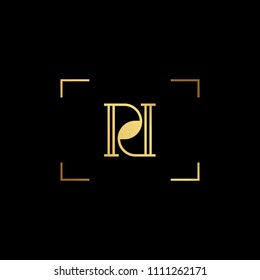 Initial letter PD DP minimalist art monogram shape logo, gold color on black background