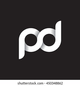 initial letter pd modern linked circle round lowercase logo white black