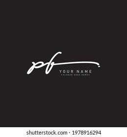 Initial Letter PF Logo - Hand Drawn Signature Logo