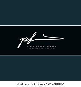 Initial Letter PF Logo - Handwritten Signature Style Logo