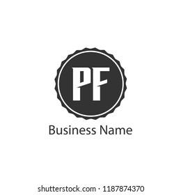 Initial Letter PF Logo Template Design