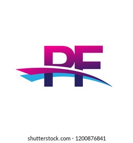 initial letter PF logotype company name colored blue and magenta swoosh design. vector logo for business and company