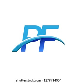initial letter PF logotype company name colored blue and swoosh design. vector logo for business and company identity.