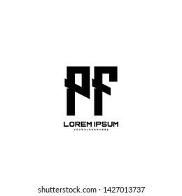 Initial letter PF minimalist art logo vector