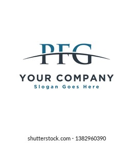 Initial letter PFG, overlapping movement swoosh horizon logo company design inspiration in blue and dark blue color vector
