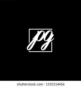 Initial letter PG GP minimalist art monogram shape logo, white color on black background
