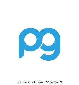 initial letter pg linked round lowercase logo blue