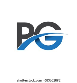 initial letter PG logotype company name colored blue and grey swoosh design. vector logo for business and company identity.