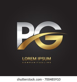 initial letter PG logotype company name colored gold and silver swoosh design. isolated on black background.