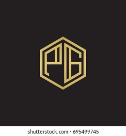 Initial letter PG, minimalist line art hexagon logo, gold color on black background