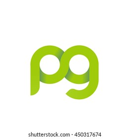 initial letter pg modern linked circle round lowercase logo green