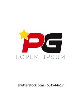 Initial letter pg yellow star logo red black