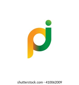initial letter pi linked round lowercase logo orange green