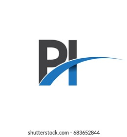 initial letter PI logotype company name colored blue and grey swoosh design. vector logo for business and company identity.