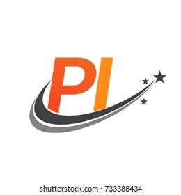 initial letter PI logotype company name colored orange and grey swoosh star design. vector logo for business and company identity.
