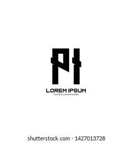 Initial letter PI minimalist art logo vector