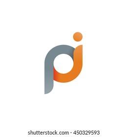 initial letter pi modern linked circle round lowercase logo orange gray