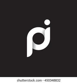 initial letter pi modern linked circle round lowercase logo white black