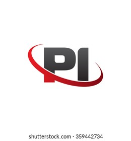 initial letter PI swoosh ring company logo red black