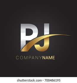 initial letter PJ logotype company name colored gold and silver swoosh design. isolated on black background.