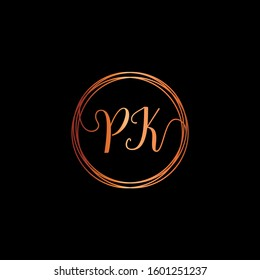 initial letter PK handwriting with circle element template. Creative beauty fashion or clothing. Initial logo of the couple's name in the style of a hand drawing for the concept of marriage - vector