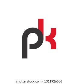 Initial Letter PK Linked Circle Lowercase Logo Black Red Icon Design Template Element - Vector