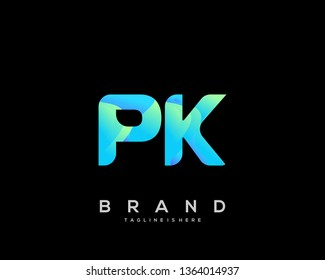 Initial letter PK logo with colorful background, letter combination logo design for creative industry, web, business and company. - Vector