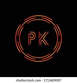 Initial Letter PK Logo Design Vector Template. PK Letter Logo Design