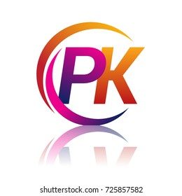 initial letter PK logotype company name orange and magenta color on circle and swoosh design. vector logo for business and company identity.