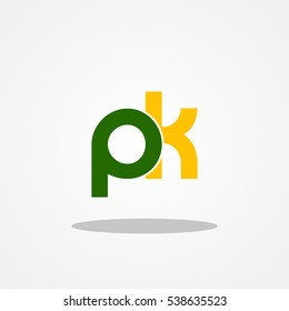 Initial letter PK lowercase logo design template green army yellow gold
