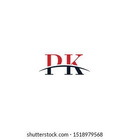 Initial letter PK, overlapping movement swoosh horizon logo company design inspiration in red and dark blue color vector